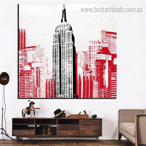 Empire Building Abstract City Framed Effigy Photo Canvas Print for Room Wall Tracery