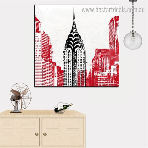 Chrysler Building Abstract City Framed Effigy Photo Canvas Print for Room Wall Getup