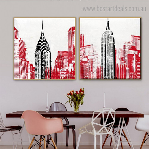 Empire and Chrysler Abstract City Framed Effigy Photo Canvas Print for Room Wall Garnish