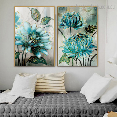 Turquoise Florets Abstract Botanical Nordic Framed Effigy Pic Canvas Print For Room Wall Assortment