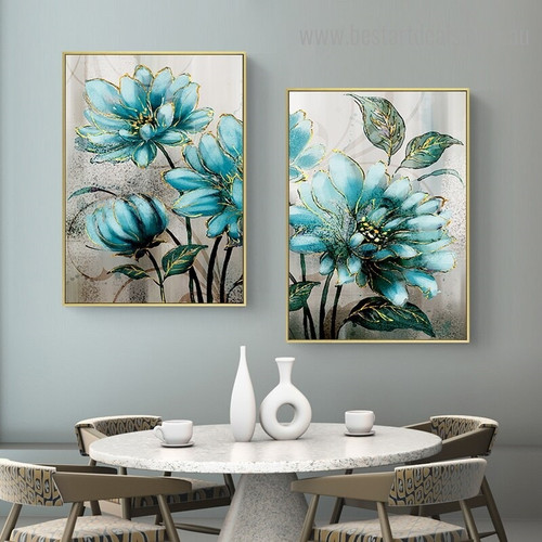 Turquoise Flowers Abstract Botanical Nordic Framed Effigy Portrait Canvas Print for Room Wall Assortment