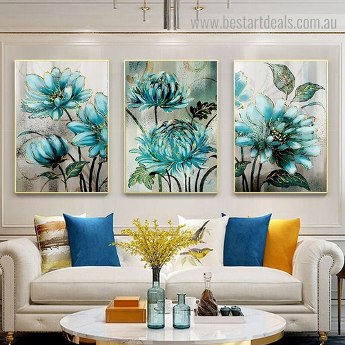 Turquoise Blossoms Abstract Botanical Nordic Framed Effigy Image Canvas Print for Room Wall Decoration