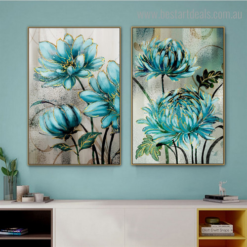 Floral Burgeon Abstract Nordic Framed Effigy Image Canvas Print For Room Wall Disposition