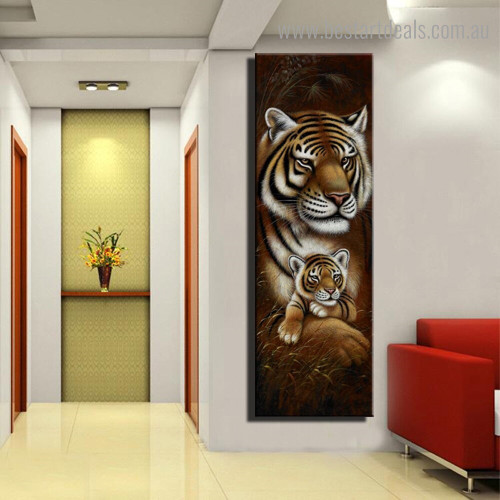 Tiger Cub Animal Modern Framed Painting Picture Canvas Print for Room Wall Garniture