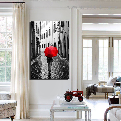 Rainy Day City Nature Framed Painting Portrait Canvas Print for Room Wall Drape