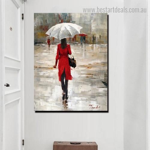 Rainfall Season Abstract Nature Framed Painting Portrait Canvas Print for Room Wall Drape