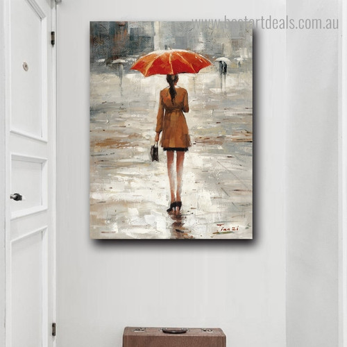 Rainfall Weather Abstract Nature Framed Painting Image Canvas Print for Room Wall Decoration
