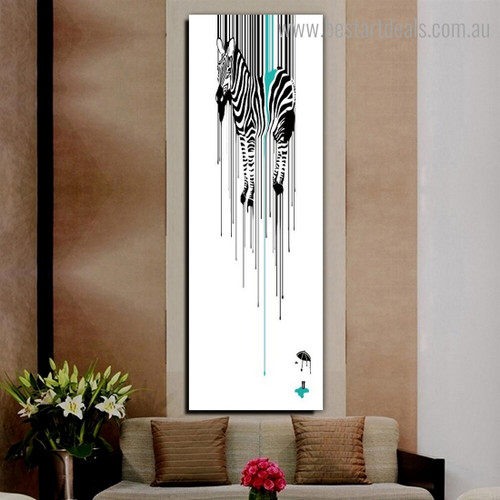 Stripiness Zebra Animal Panoramic Watercolor Nordic Framed Painting Photo Canvas Print for Room Wall Decoration