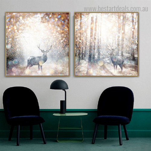Bush Abstract Animal Nature Nordic Framed Painting Image Canvas Print for Room Wall Decoration