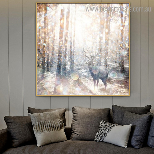Wooded Hart Abstract Animal Nature Nordic Framed Painting Portrait Canvas Print for Room Wall Tracery
