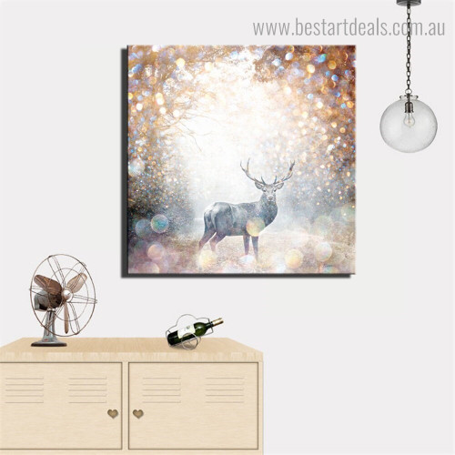 Wild Reindeer Abstract Animal Nature Nordic Framed Painting Picture Canvas Print for Room Wall Ornament