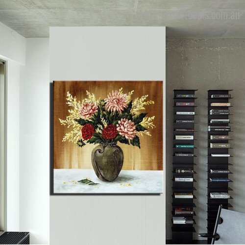 Bouquet of Dahlias Botanical Framed Effigy Image Canvas Print for Room Wall Finery