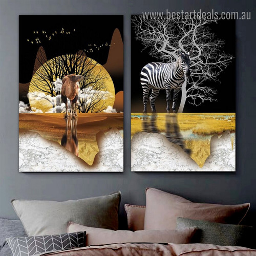 Dromedary Zebra Animal Modern Framed Artwork Photograph Canvas Print for Room Wall Drape