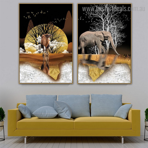 Camel Elephant Animal Modern Framed Artwork Image Canvas Print for Room Wall Outfit