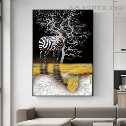 Striped Zebra Animal Modern Framed Artwork Photo Canvas Print for Room Wall Decoration
