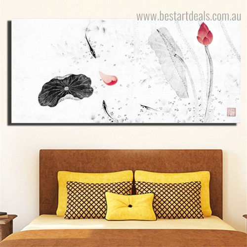 Lotus Buds Floral Framed Painting Pic Canvas Print for Room Wall Decoration