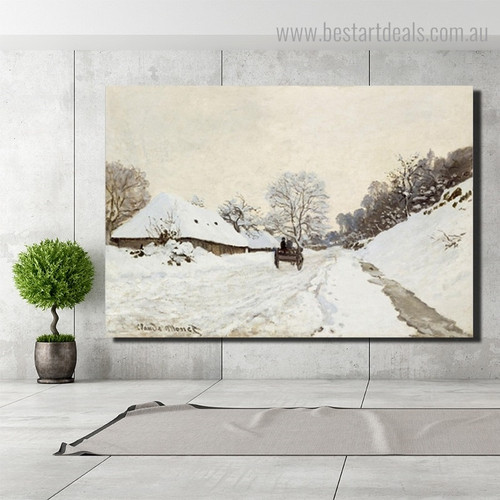 Snowy Road Monet Reproduction Framed Artwork Image Canvas Print for Room Wall Ornament