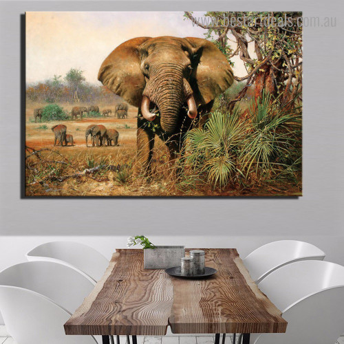 Elephants Cluster Animal Modern Framed Painting Photo Canvas Print for Room Wall Onlay