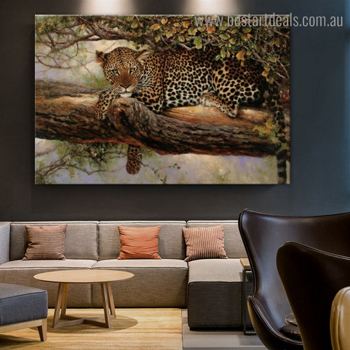 Wooded Leopard Animal Modern Framed Painting Portrait Canvas Print for Room Wall Outfit
