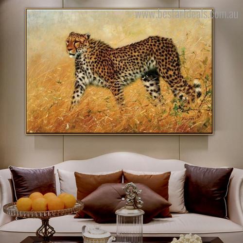 Wild Cheetah Animal Modern Framed Artwork Pic Canvas Print for Room Wall Drape