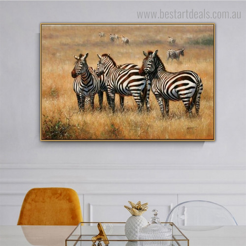 Jungly Zebras Animal Modern Framed Artwork Picture Canvas Print for Room Wall Decor