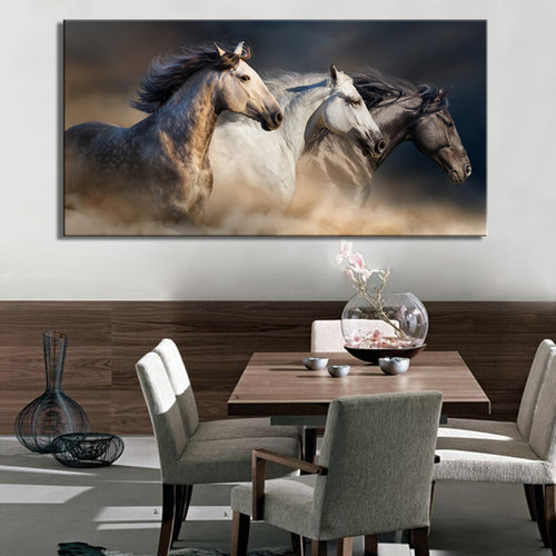 Robust Horses Picture Print for Living Room Decor