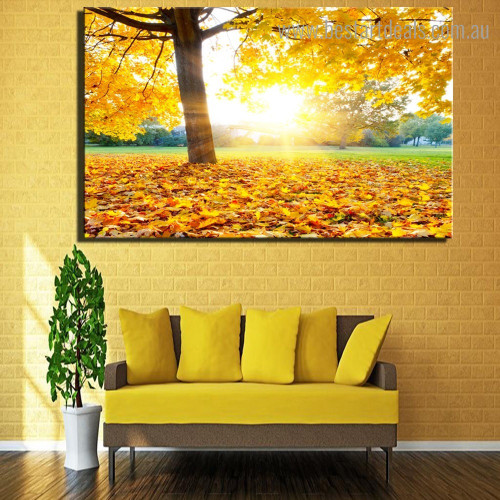 Sunup Nature Modern Framed Smudge Portrait Canvas Print for Room Wall Onlay