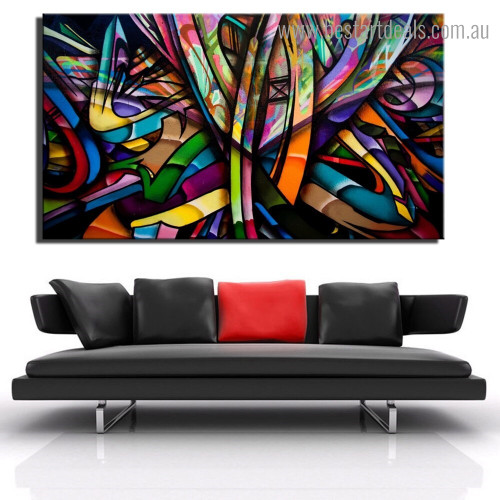 Multicolored Lines Abstract Modern Framed Smudge Picture Canvas Print for Room Wall Adornment