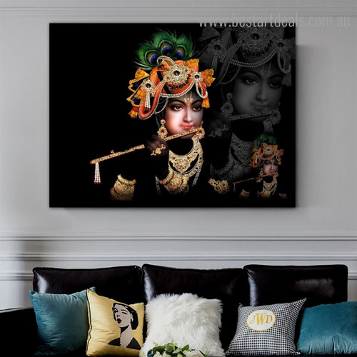 God Govind Religious Modern Framed Smudge Pic Canvas Print for Room Wall Disposition