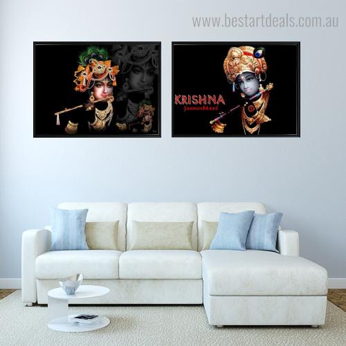 Krishna Janmashtami Religious Modern Framed Smudge Photo Canvas Print for Room Wall Decoration