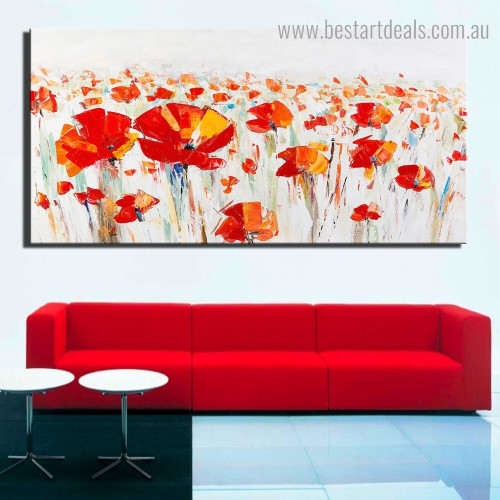 Red Poppies Botanical Framed Smudge Photo Canvas Print for Room Wall Disposition