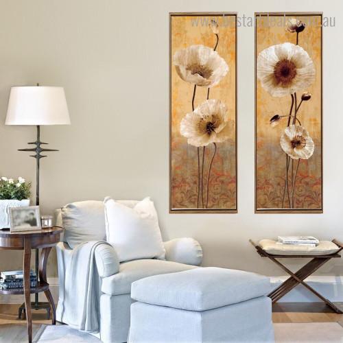 Poppy Gussets Botanical Vintage Framed Artwork Pic Canvas Print for Room Wall Decor