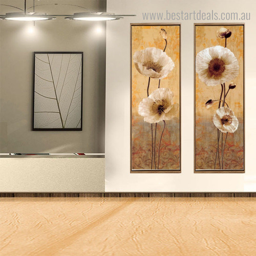Poppy Gussets Botanical Vintage Framed Artwork Pic Canvas Print for Room Wall Getup