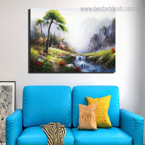 Waterfall Landscape Nature Framed Painting Portrait Canvas Print for Room Wall Adornment