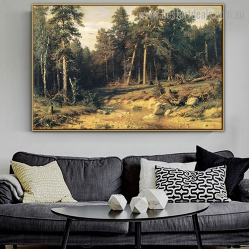 Pine Forest Nature Reproduction Framed Painting Picture Canvas Print for Room Wall Decoration