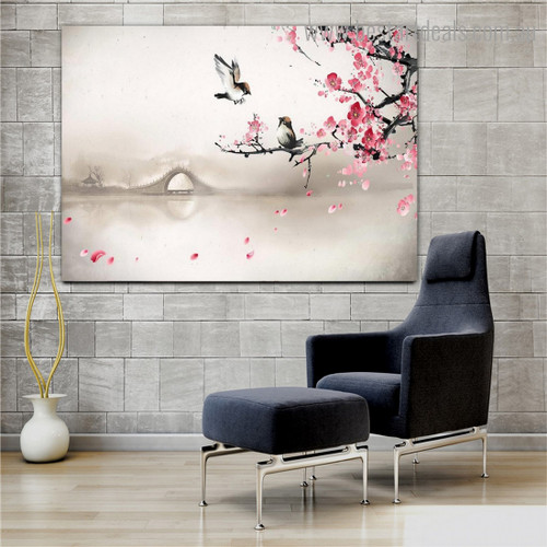 Sparrows Bird Floral Nature Framed Artwork Image Canvas Print for Room Wall Decor