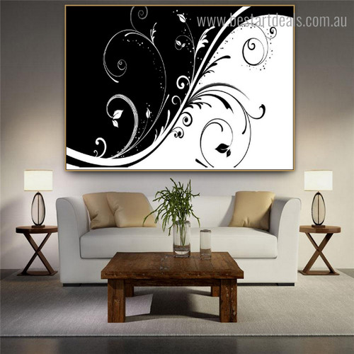 Floral Swirl Abstract Modern Framed Painting Picture Canvas Print for Room Wall Outfit