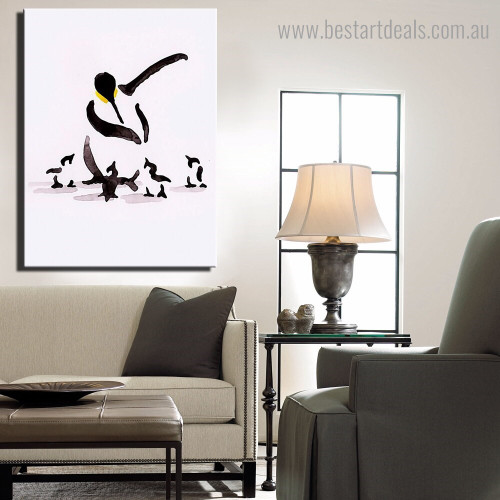 Antarctic Penguin Abstract Bird Framed Painting Photo Canvas Print for Room Wall Onlay