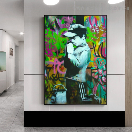 Boy Abstract Figure Graffiti Framed Artwork Image Canvas Print for Room Wall Ornament