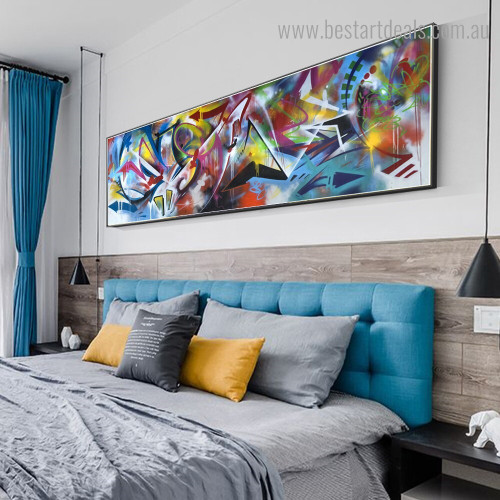 Varicoloured Abstract Graffiti Framed Artwork Image Canvas Print for Room Wall Outfit