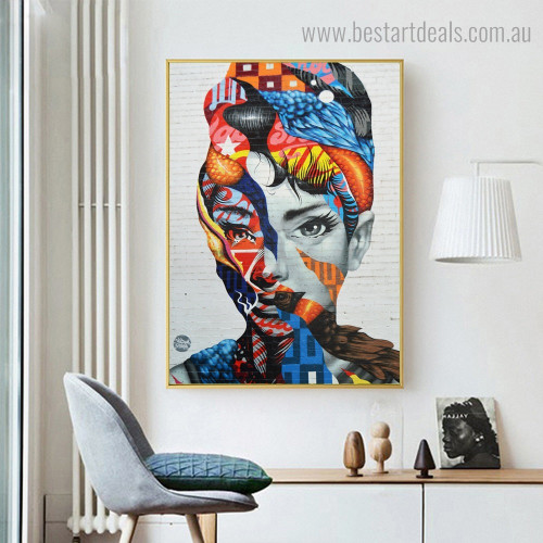 Particolored Face Abstract Figure Modern Framed Artwork Image Canvas Print for Room Wall Disposition