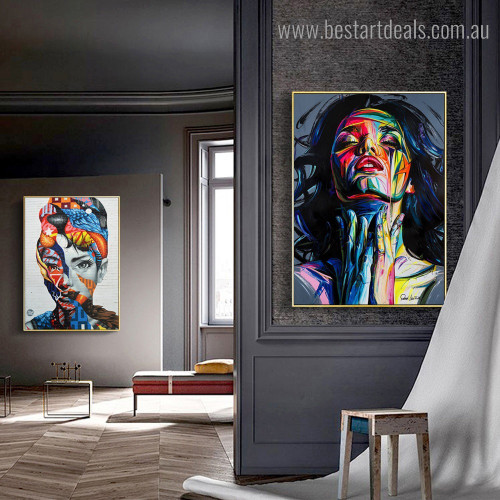Colorific Countenances Abstract Figure Modern Framed Artwork Photo Canvas Print for Room Wall Flourish