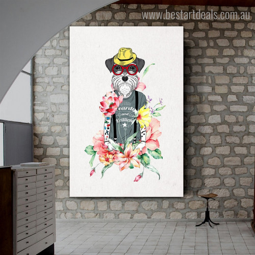 Hipster Dog Animal Illustration Modern Framed Painting Photo Canvas Print for Room Wall Decor