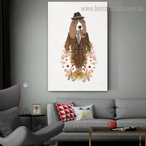 Hound Dog Animal Illustration Modern Framed Painting Photo Canvas Print for Room Wall Adornment