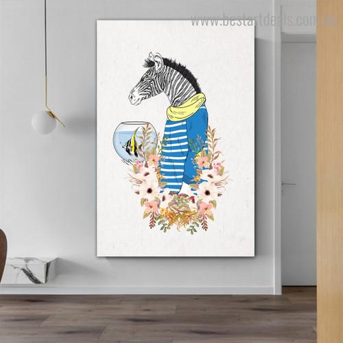 Zebra Fish Animal Illustration Modern Framed Artwork Image Canvas Print for Room Wall Assortment