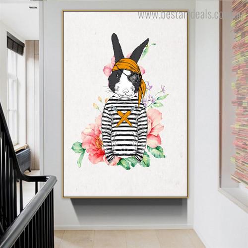 Pirate Rabbit Animal Illustration Modern Framed Artwork Photograph Canvas Print for Room Wall Disposition