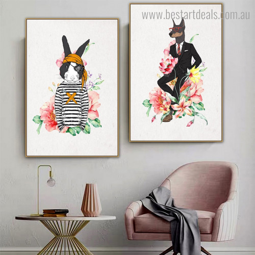 Rabbit Dog Animal Modern Framed Painting Image Canvas Print for Room Wall Equipment