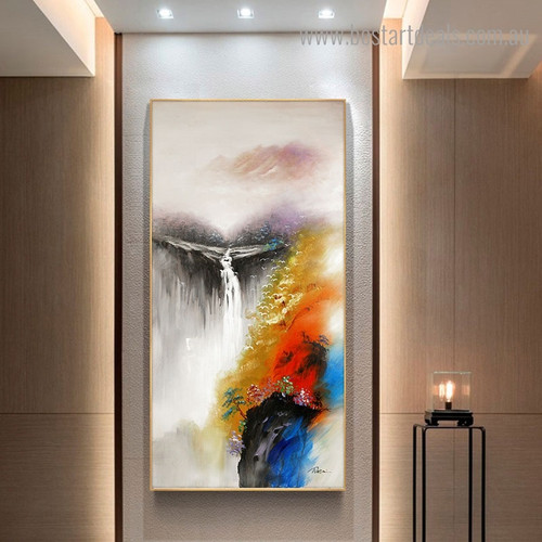 Fount Abstract Landscape Watercolor Framed Painting Pic Canvas Print for Room Wall Moulding