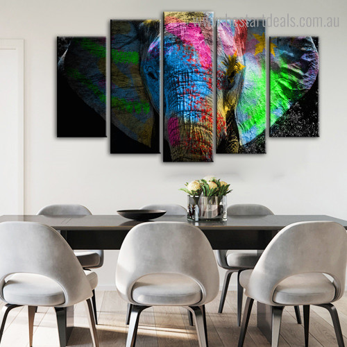 Colorific Tusker Animal Modern Framed Painting Picture Canvas Print for Room Wall Disposition