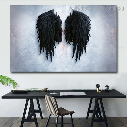 Black Plumes Abstract Modern Framed Artwork Portrait Canvas Print for Room Wall Finery